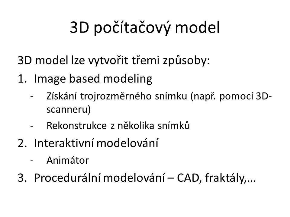 3D počítačový model 3D model lze vytvořit třemi způsoby: 1.Image based modeling -Získání trojrozměrného snímku (např. pomocí 3D- scanneru) -Rekonstruk