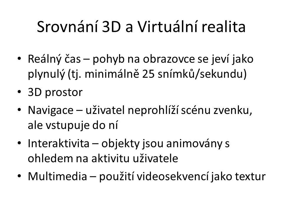 Srovnání 3D a Virtuální realita Reálný čas – pohyb na obrazovce se jeví jako plynulý (tj. minimálně 25 snímků/sekundu) 3D prostor Navigace – uživatel
