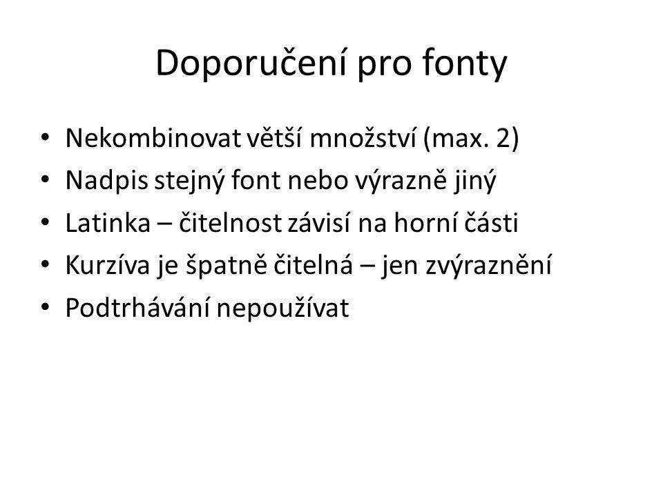 Doporučení pro fonty Nekombinovat větší množství (max. 2) Nadpis stejný font nebo výrazně jiný Latinka – čitelnost závisí na horní části Kurzíva je šp