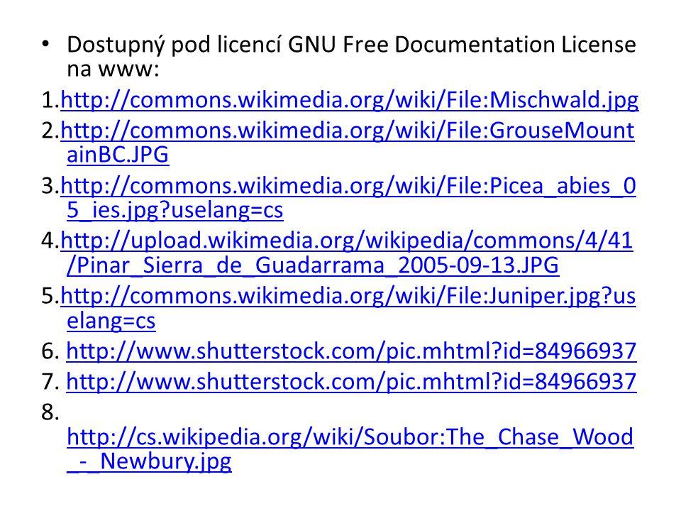 Dostupný pod licencí GNU Free Documentation License na www: 1.http://commons.wikimedia.org/wiki/File:Mischwald.jpghttp://commons.wikimedia.org/wiki/Fi