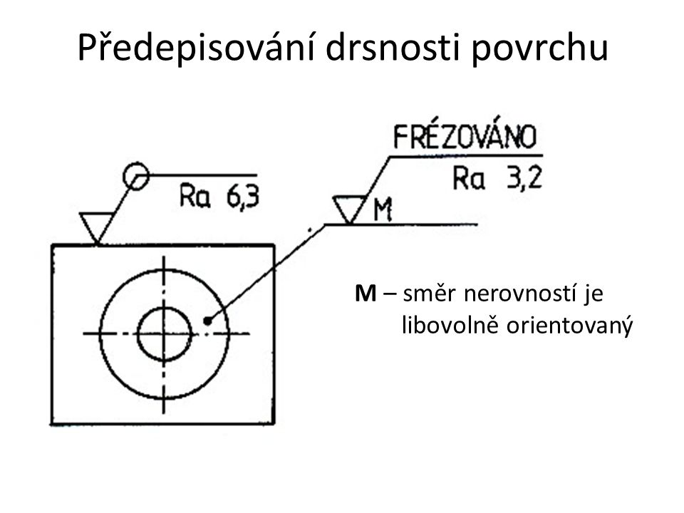 Předepisování drsnosti povrchu M – směr nerovností je libovolně orientovaný