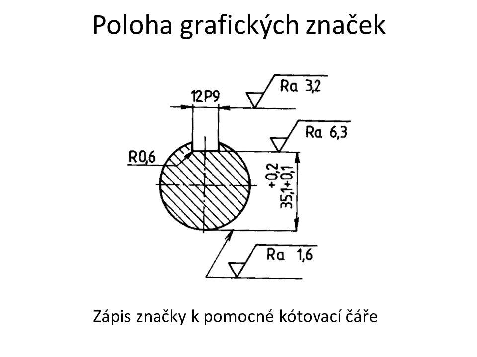 Poloha grafických značek Zápis značky k pomocné kótovací čáře