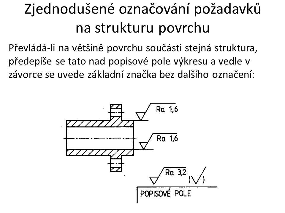 Zjednodušené označování požadavků na strukturu povrchu Převládá-li na většině povrchu součásti stejná struktura, předepíše se tato nad popisové pole v