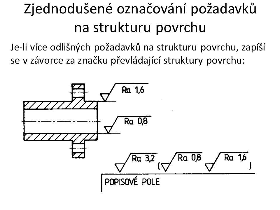 Zjednodušené označování požadavků na strukturu povrchu Je-li více odlišných požadavků na strukturu povrchu, zapíší se v závorce za značku převládající