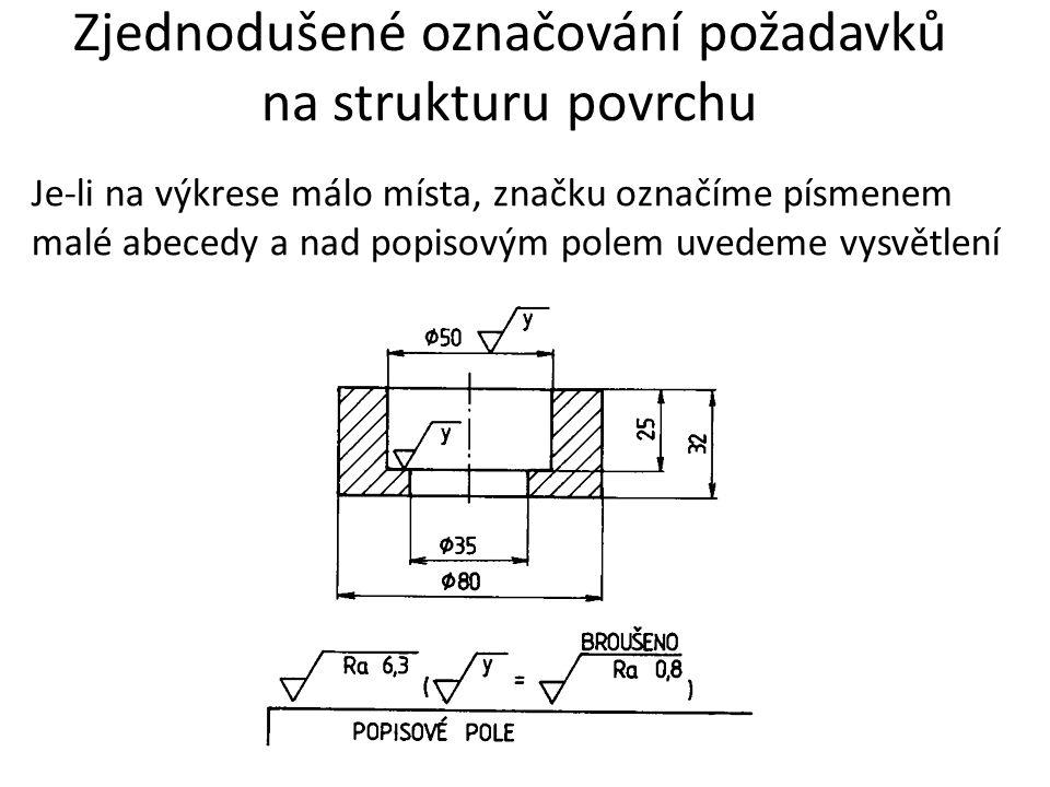 Zjednodušené označování požadavků na strukturu povrchu Je-li na výkrese málo místa, značku označíme písmenem malé abecedy a nad popisovým polem uvedem