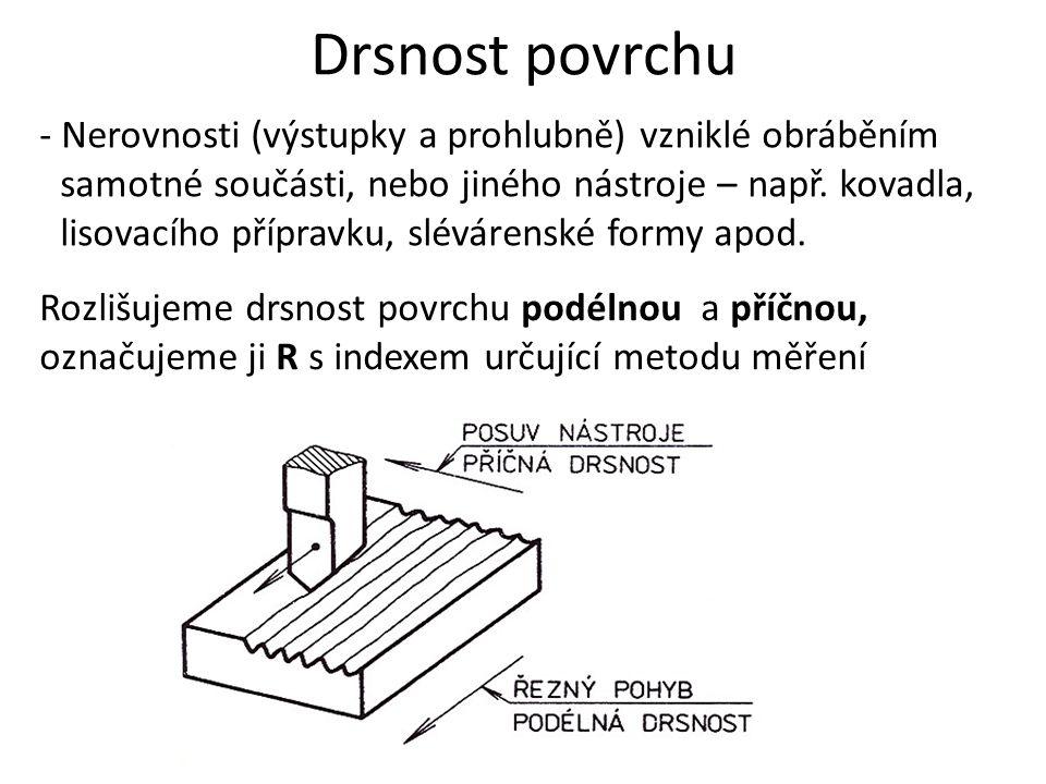 Drsnost povrchu - Nerovnosti (výstupky a prohlubně) vzniklé obráběním samotné součásti, nebo jiného nástroje – např. kovadla, lisovacího přípravku, sl