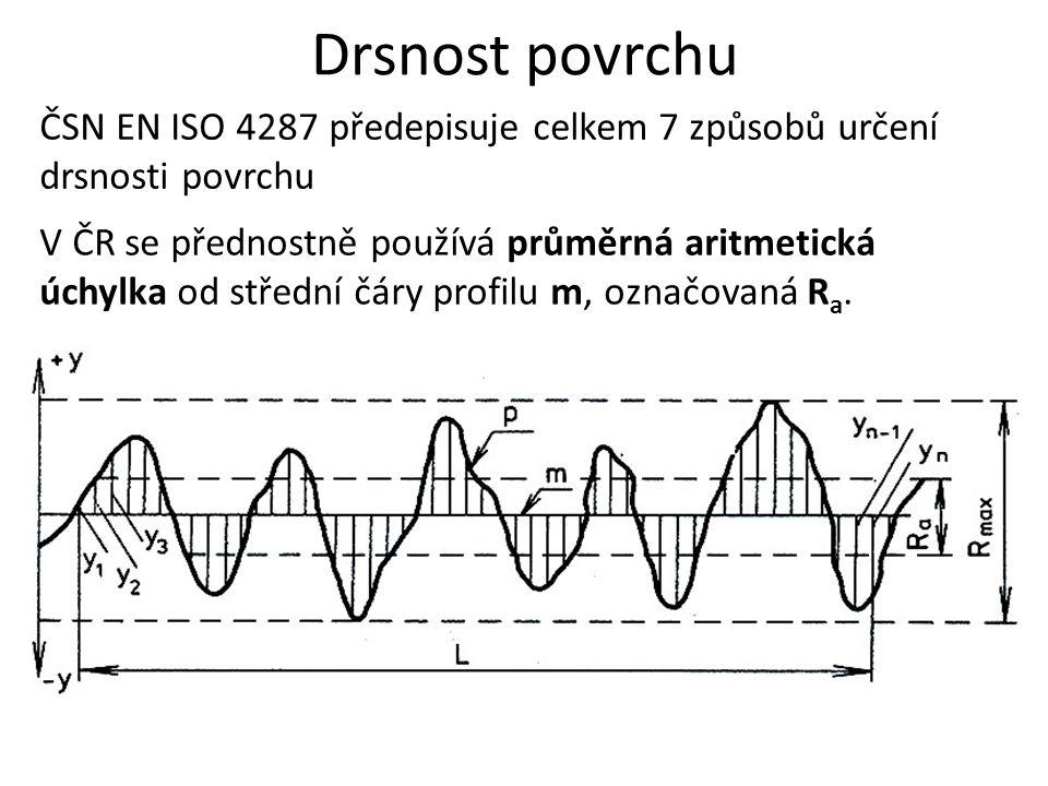 Drsnost povrchu V ČR se přednostně používá průměrná aritmetická úchylka od střední čáry profilu m, označovaná R a. ČSN EN ISO 4287 předepisuje celkem