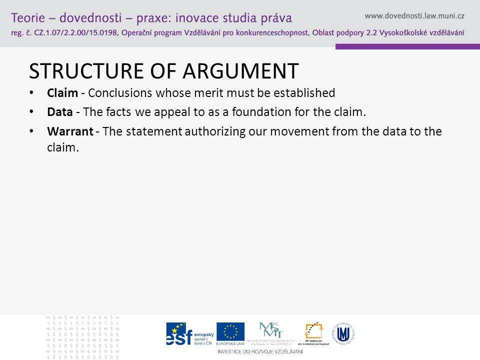 STRUCTURE OF ARGUMENT Claim - Conclusions whose merit must be established Data - The facts we appeal to as a foundation for the claim.