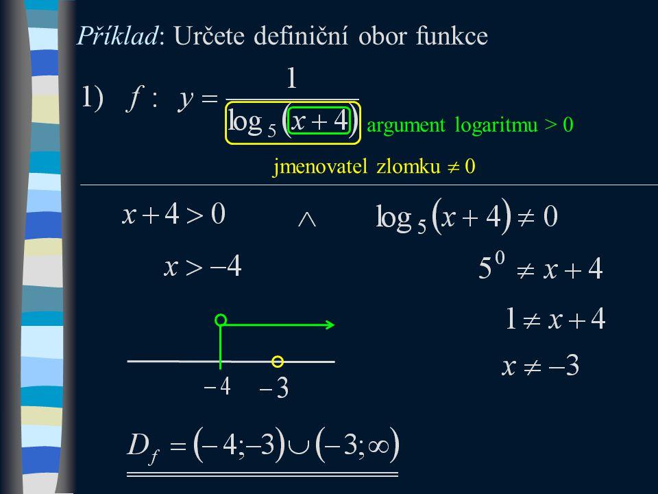 argument logaritmu > 0 jmenovatel zlomku  0 Příklad: Určete definiční obor funkce