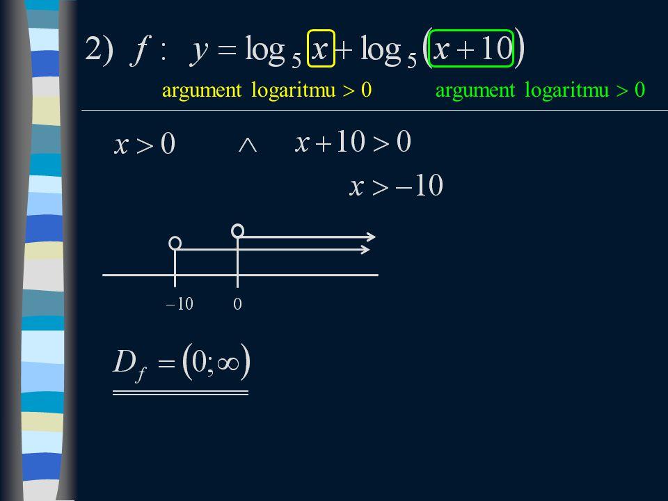 argument logaritmu  0