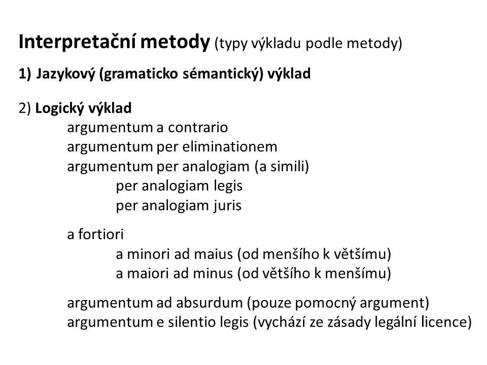 Interpretační metody (typy výkladu podle metody) 1)Jazykový (gramaticko sémantický) výklad 2) Logický výklad argumentum a contrario argumentum per eliminationem argumentum per analogiam (a simili) per analogiam legis per analogiam juris a fortiori a minori ad maius (od menšího k většímu) a maiori ad minus (od většího k menšímu) argumentum ad absurdum (pouze pomocný argument) argumentum e silentio legis (vychází ze zásady legální l icence)
