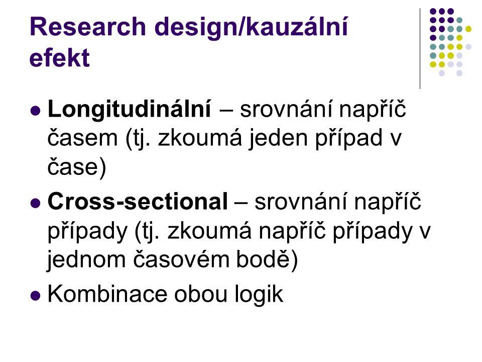 Research design/kauzální efekt Longitudinální – srovnání napříč časem (tj. zkoumá jeden případ v čase) Cross-sectional – srovnání napříč případy (tj.