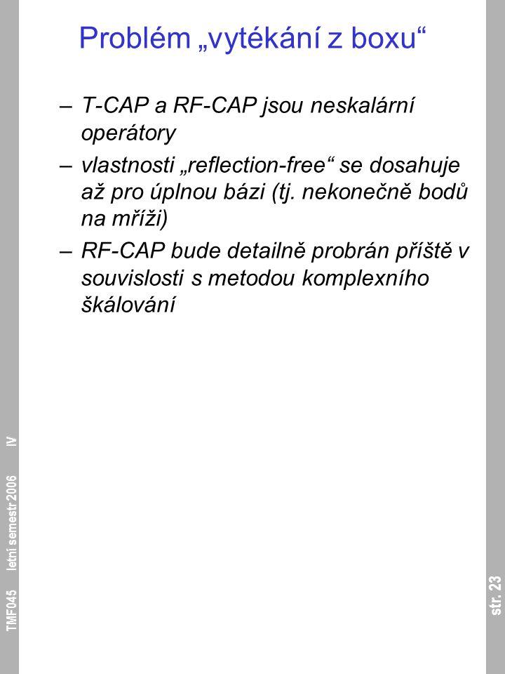 """str. 23 TMF045 letní semestr 2006 IV Problém """"vytékání z boxu"""" –T-CAP a RF-CAP jsou neskalární operátory –vlastnosti """"reflection-free"""" se dosahuje až"""