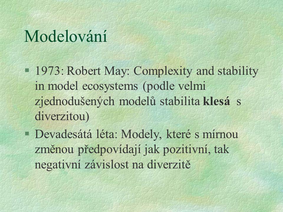 Modelování §1973: Robert May: Complexity and stability in model ecosystems (podle velmi zjednodušených modelů stabilita klesá s diverzitou) §Devadesát