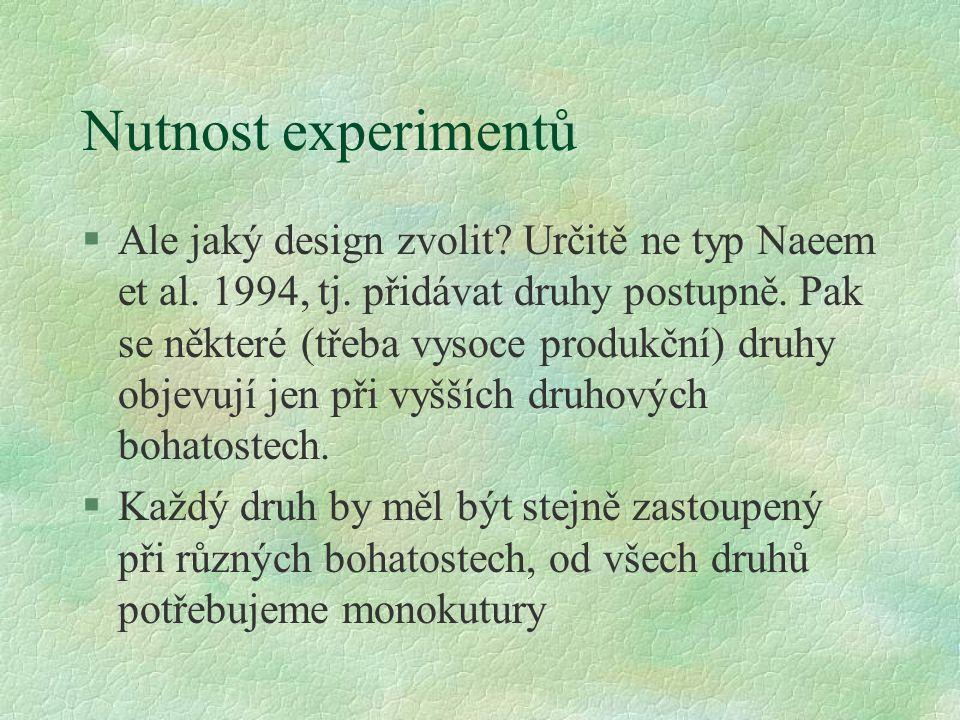Nutnost experimentů §Ale jaký design zvolit? Určitě ne typ Naeem et al. 1994, tj. přidávat druhy postupně. Pak se některé (třeba vysoce produkční) dru