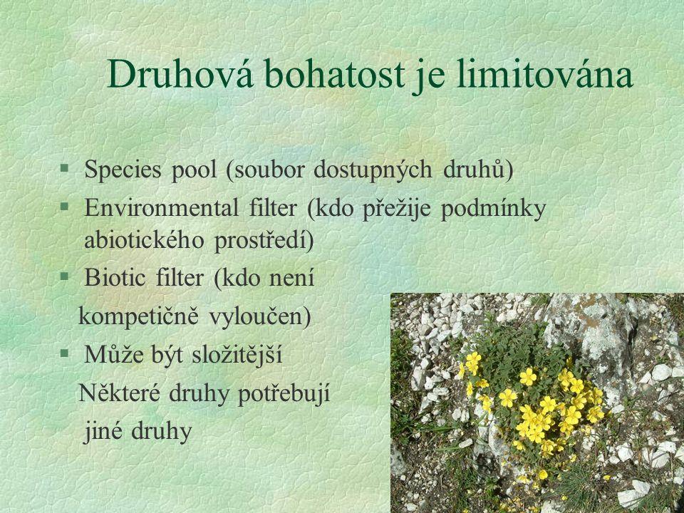 Druhová bohatost je limitována §Species pool (soubor dostupných druhů) §Environmental filter (kdo přežije podmínky abiotického prostředí) §Biotic filt