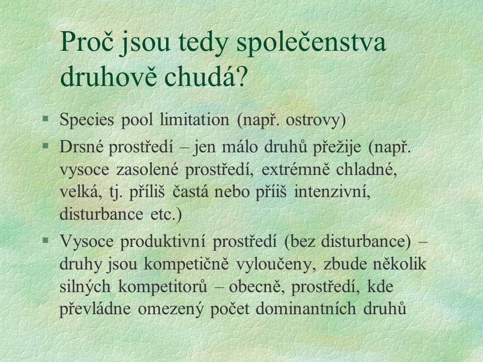 Proč jsou tedy společenstva druhově chudá? §Species pool limitation (např. ostrovy) §Drsné prostředí – jen málo druhů přežije (např. vysoce zasolené p