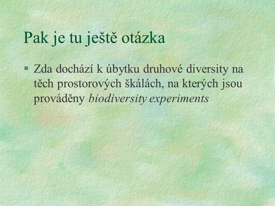 Pak je tu ještě otázka §Zda dochází k úbytku druhové diversity na těch prostorových škálách, na kterých jsou prováděny biodiversity experiments