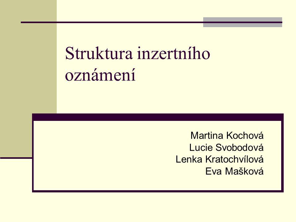 Struktura inzertního oznámení Martina Kochová Lucie Svobodová Lenka Kratochvílová Eva Mašková