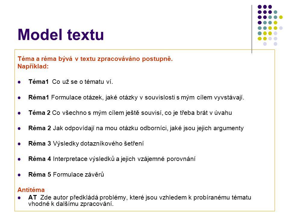 Model textu Téma a réma bývá v textu zpracováváno postupně. Například: Téma1 Co už se o tématu ví. Réma1 Formulace otázek, jaké otázky v souvislosti s