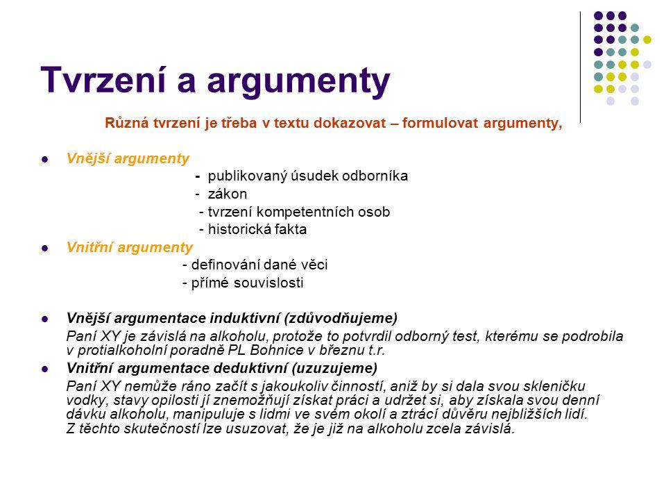 Tvrzení a argumenty Různá tvrzení je třeba v textu dokazovat – formulovat argumenty, Vnější argumenty - publikovaný úsudek odborníka - zákon - tvrzení kompetentních osob - historická fakta Vnitřní argumenty - definování dané věci - přímé souvislosti Vnější argumentace induktivní (zdůvodňujeme) Paní XY je závislá na alkoholu, protože to potvrdil odborný test, kterému se podrobila v protialkoholní poradně PL Bohnice v březnu t.r.
