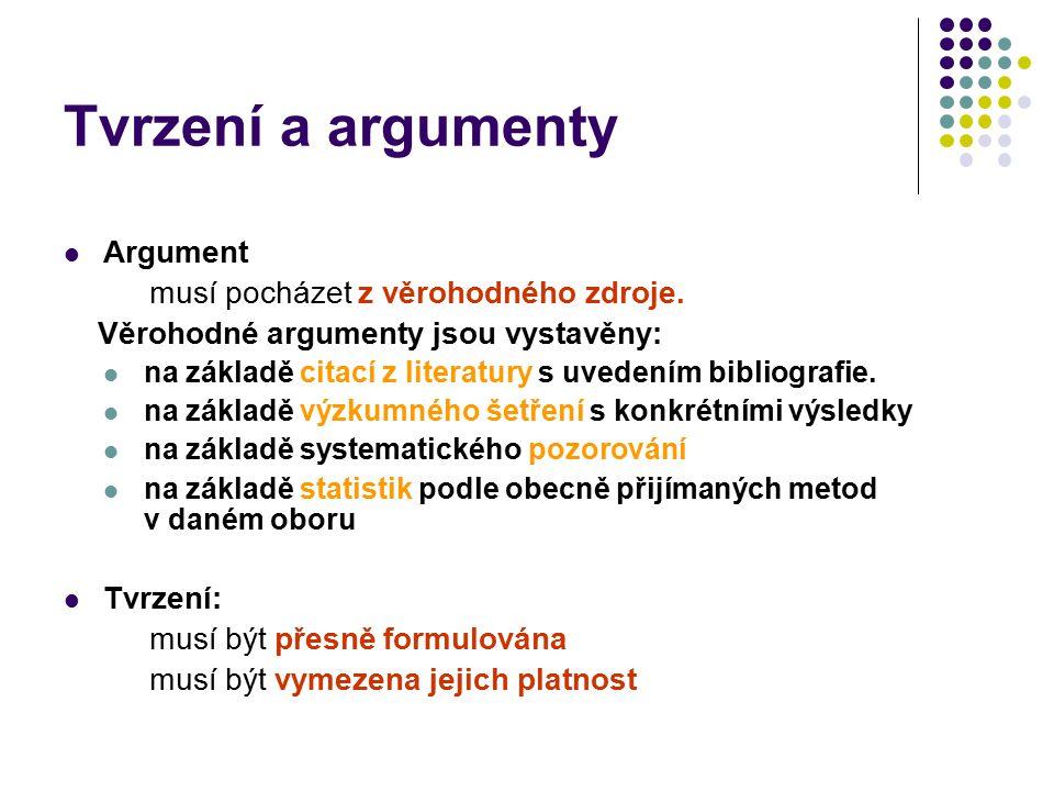 Tvrzení a argumenty Argument musí pocházet z věrohodného zdroje. Věrohodné argumenty jsou vystavěny: na základě citací z literatury s uvedením bibliog