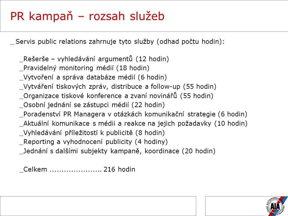 PR kampaň – rozsah služeb _Servis public relations zahrnuje tyto služby (odhad počtu hodin): _Rešerše – vyhledávání argumentů (12 hodin) _Pravidelný monitoring médií (18 hodin) _Vytvoření a správa databáze médií (6 hodin) _Vytváření tiskových zpráv, distribuce a follow-up (55 hodin) _Organizace tiskové konference a zvaní novinářů (55 hodin) _Osobní jednání se zástupci médií (22 hodin) _Poradenství PR Managera v otázkách komunikační strategie (6 hodin) _Aktuální komunikace s médii a reakce na jejich požadavky (10 hodin) _Vyhledávání příležitostí k publicitě (8 hodin) _Reporting a vyhodnocení publicity (4 hodiny) _Jednání s dalšími subjekty kampaně, koordinace (20 hodin) _Celkem......................
