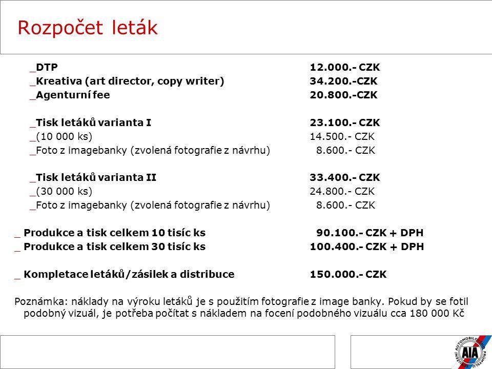 Rozpočet leták _DTP12.000.- CZK _Kreativa (art director, copy writer)34.200.-CZK _Agenturní fee20.800.-CZK _Tisk letáků varianta I 23.100.- CZK _(10 000 ks)14.500.- CZK _Foto z imagebanky (zvolená fotografie z návrhu) 8.600.- CZK _Tisk letáků varianta II33.400.- CZK _(30 000 ks) 24.800.- CZK _Foto z imagebanky (zvolená fotografie z návrhu) 8.600.- CZK _Produkce a tisk celkem 10 tisíc ks 90.100.- CZK + DPH _Produkce a tisk celkem 30 tisíc ks100.400.- CZK + DPH _Kompletace letáků/zásilek a distribuce150.000.- CZK Poznámka: náklady na výroku letáků je s použitím fotografie z image banky.