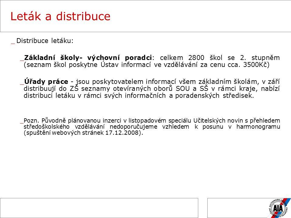 Leták a distribuce _Distribuce letáku: _Základní školy- výchovní poradci: celkem 2800 škol se 2.