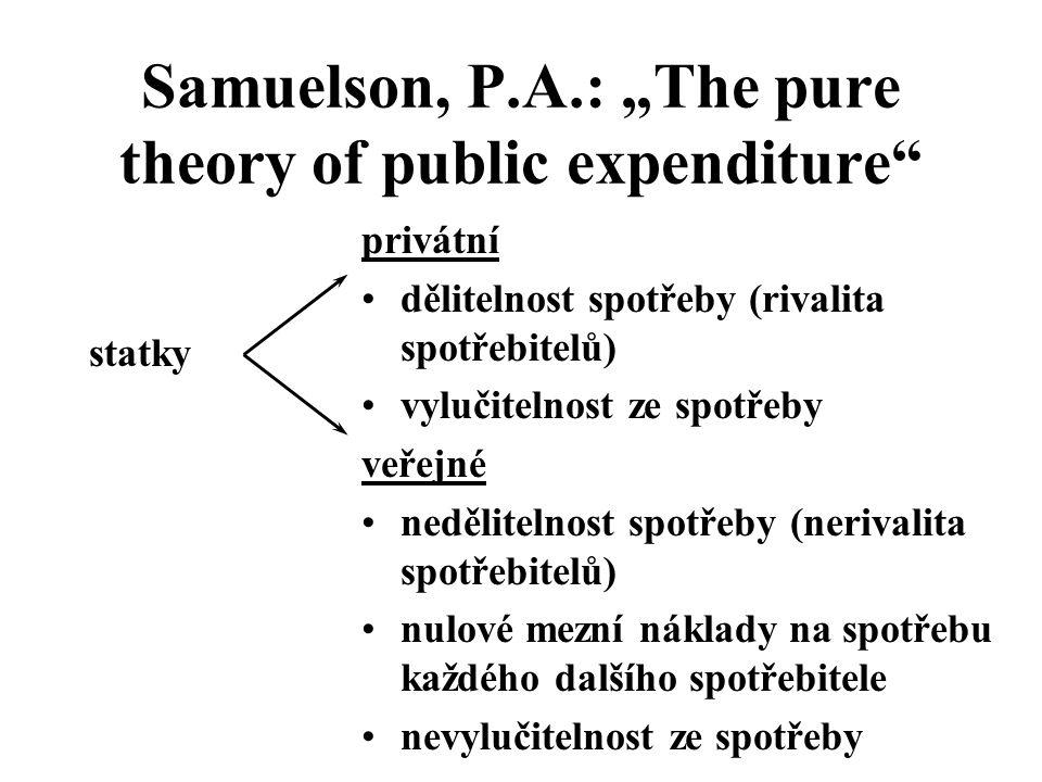 """Samuelson, P.A.: """"The pure theory of public expenditure"""" statky privátní dělitelnost spotřeby (rivalita spotřebitelů) vylučitelnost ze spotřeby veřejn"""
