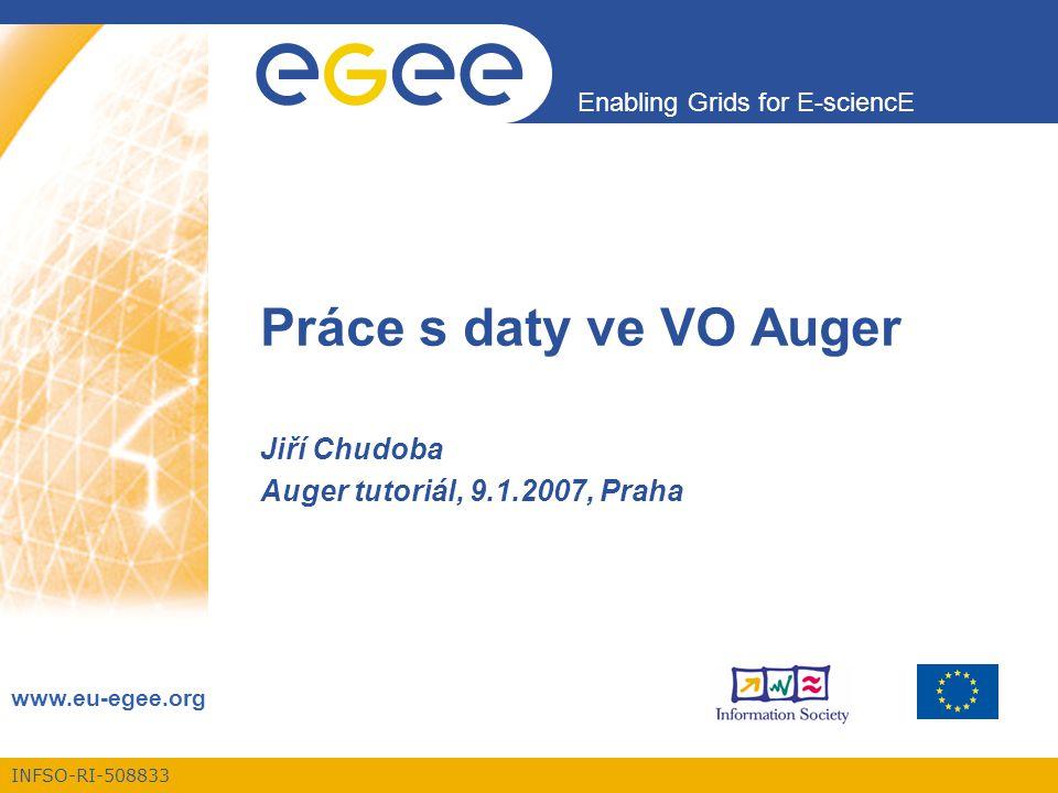 INFSO-RI-508833 Enabling Grids for E-sciencE www.eu-egee.org Práce s daty ve VO Auger Jiří Chudoba Auger tutoriál, 9.1.2007, Praha
