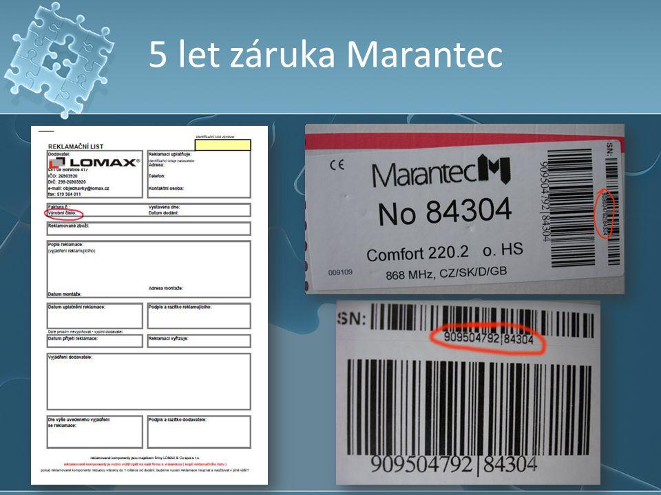 5 let záruka Marantec