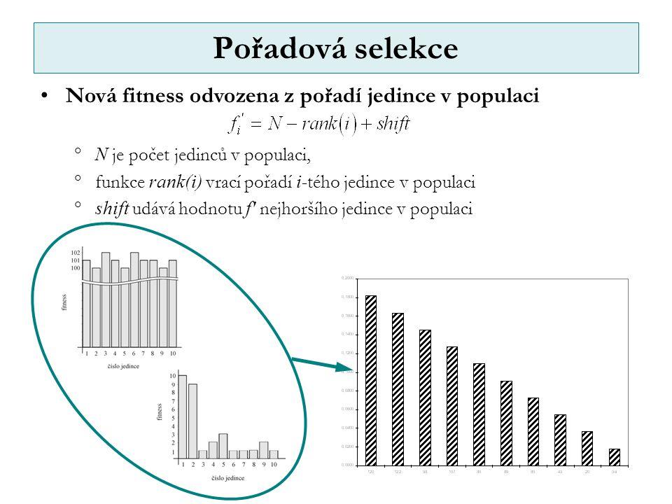 Pořadová selekce Nová fitness odvozena z pořadí jedince v populaci  N je počet jedinců v populaci,  funkce rank(i) vrací pořadí i -tého jedince v populaci  shift udává hodnotu f nejhoršího jedince v populaci