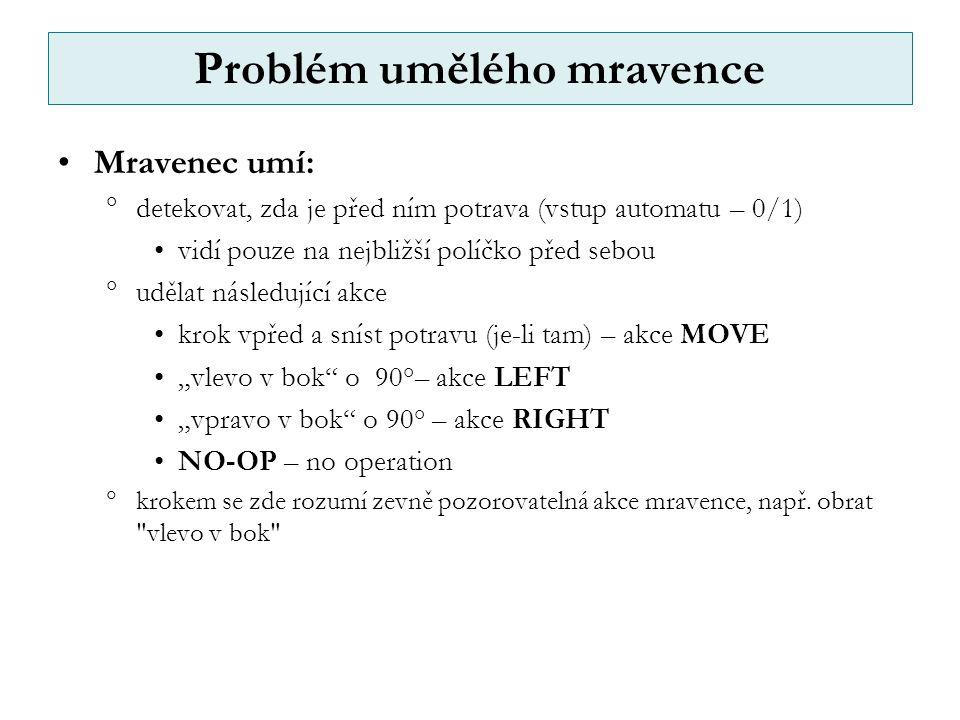 """Problém umělého mravence Mravenec umí:  detekovat, zda je před ním potrava (vstup automatu – 0/1) vidí pouze na nejbližší políčko před sebou  udělat následující akce krok vpřed a sníst potravu (je-li tam) – akce MOVE """"vlevo v bok o 90°– akce LEFT """"vpravo v bok o 90° – akce RIGHT NO-OP – no operation  krokem se zde rozumí zevně pozorovatelná akce mravence, např."""