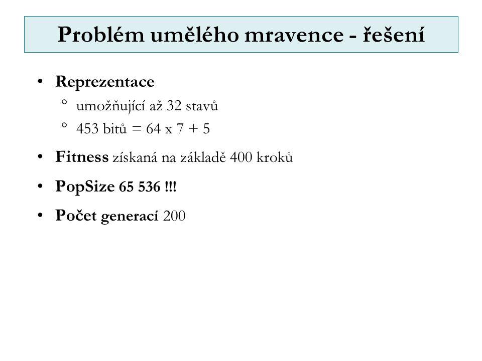 Problém umělého mravence - řešení Reprezentace  umožňující až 32 stavů  453 bitů = 64 x 7 + 5 Fitness získaná na základě 400 kroků PopSize 65 536 !!.