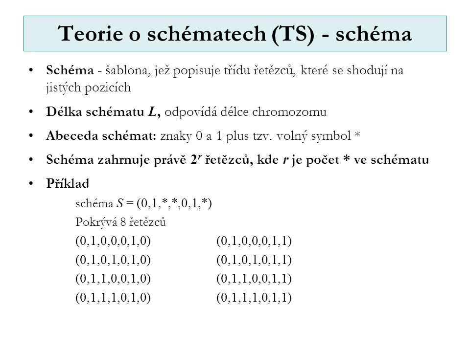 Teorie o schématech (TS) - schéma Schéma - šablona, jež popisuje třídu řetězců, které se shodují na jistých pozicích Délka schématu L, odpovídá délce chromozomu Abeceda schémat: znaky 0 a 1 plus tzv.