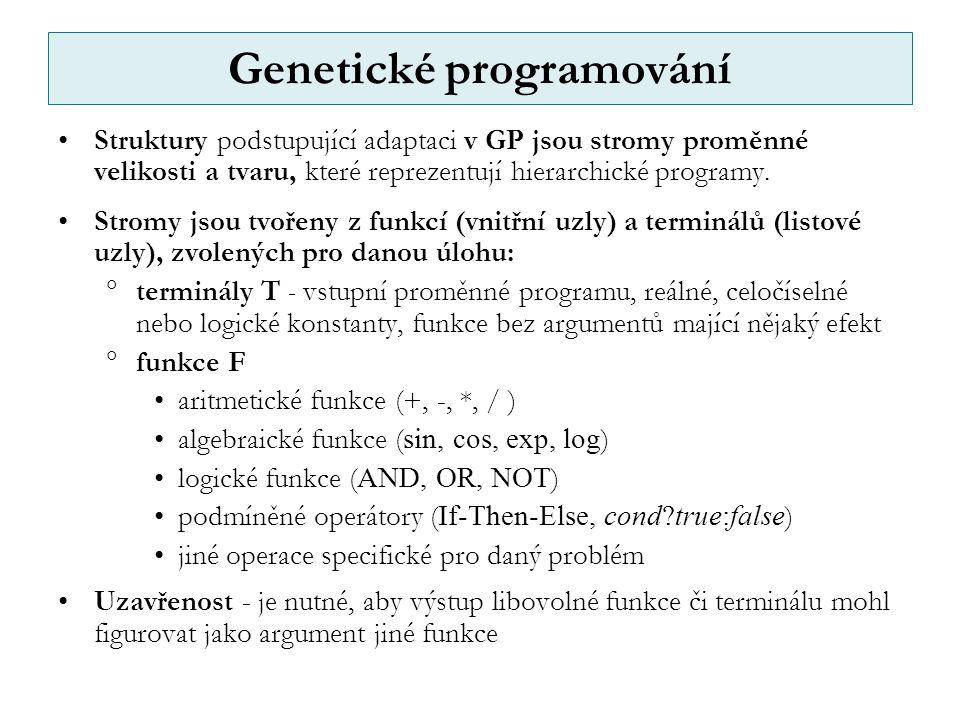 Genetické programování Struktury podstupující adaptaci v GP jsou stromy proměnné velikosti a tvaru, které reprezentují hierarchické programy.