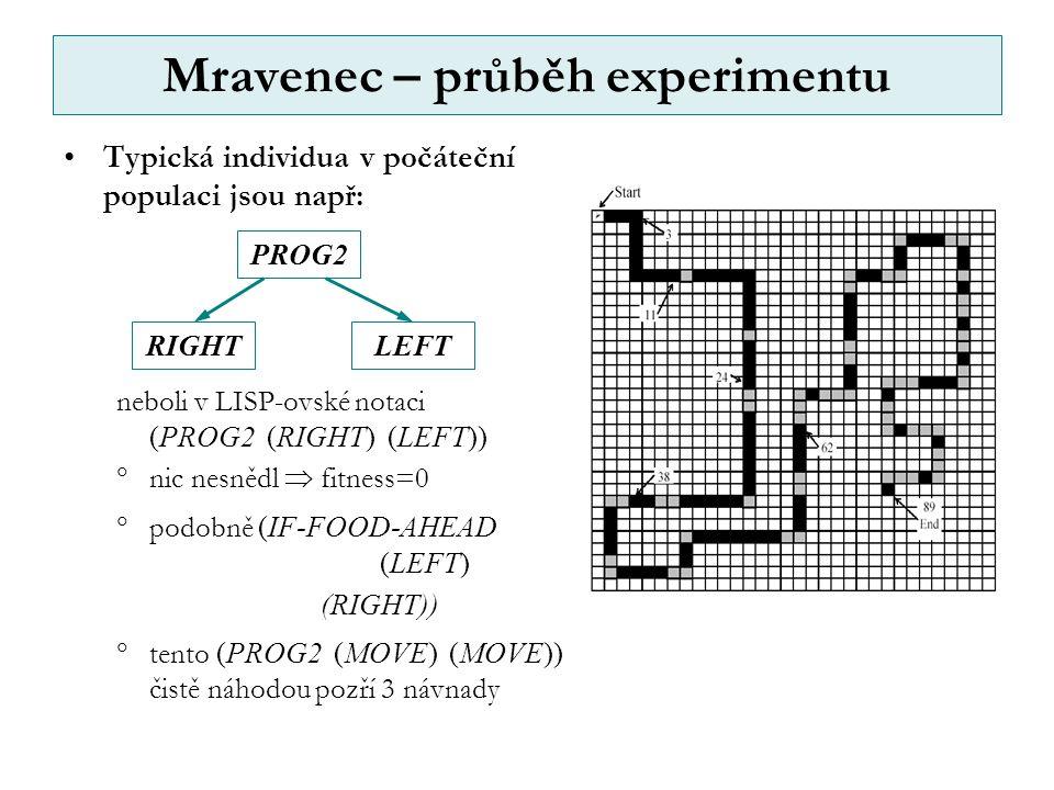 Mravenec – průběh experimentu Typická individua v počáteční populaci jsou např: neboli v LISP-ovské notaci (PROG2 (RIGHT) (LEFT))  nic nesnědl  fitness=0  podobně (IF-FOOD-AHEAD (LEFT) (RIGHT))  tento (PROG2 (MOVE) (MOVE)) čistě náhodou pozří 3 návnady RIGHT PROG2 LEFT
