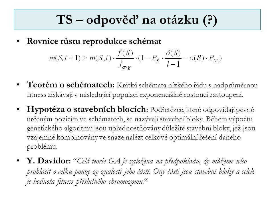 TS – odpověď na otázku ( ) Rovnice růstu reprodukce schémat Teorém o schématech : Krátká schémata nízkého řádu s nadprůměrnou fitness získávají v následující populaci exponenciálně rostoucí zastoupení.