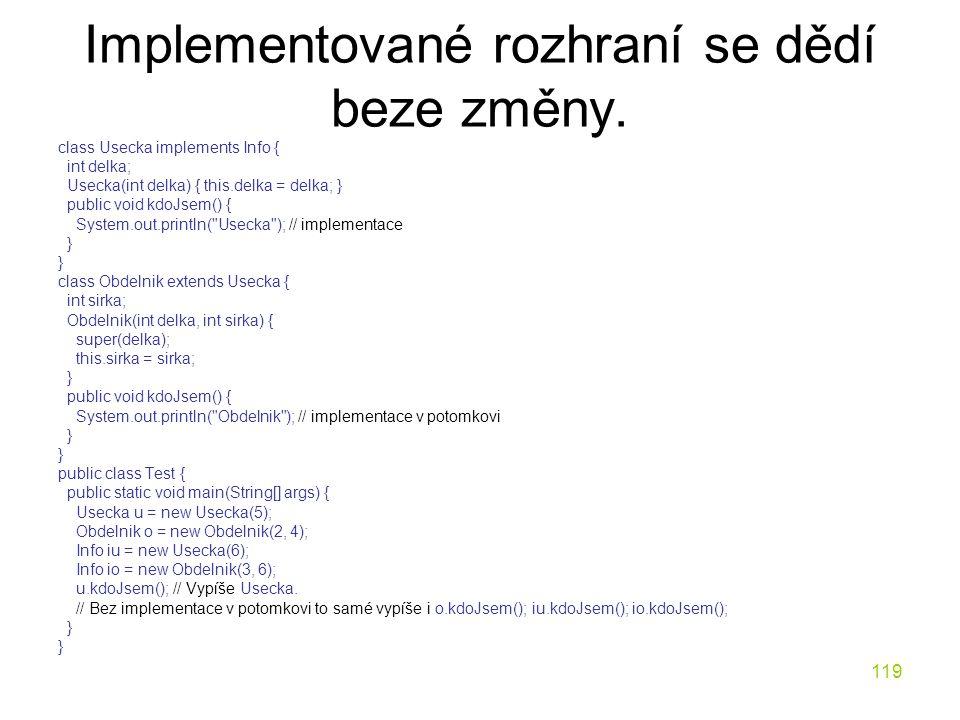 119 Implementované rozhraní se dědí beze změny. class Usecka implements Info { int delka; Usecka(int delka) { this.delka = delka; } public void kdoJse