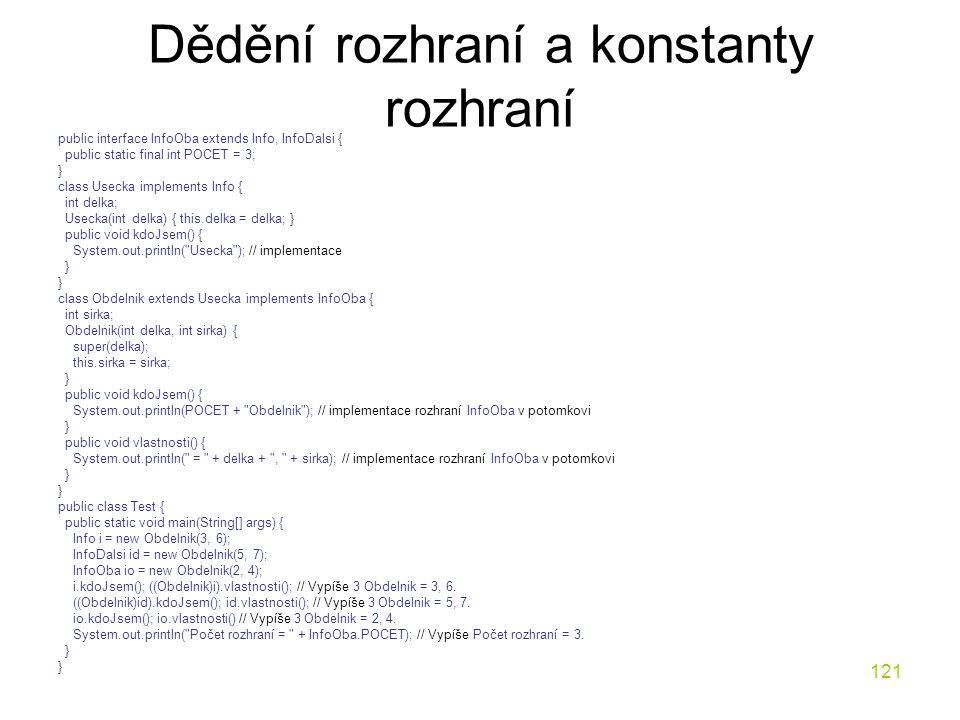 121 Dědění rozhraní a konstanty rozhraní public interface InfoOba extends Info, InfoDalsi { public static final int POCET = 3; } class Usecka implemen