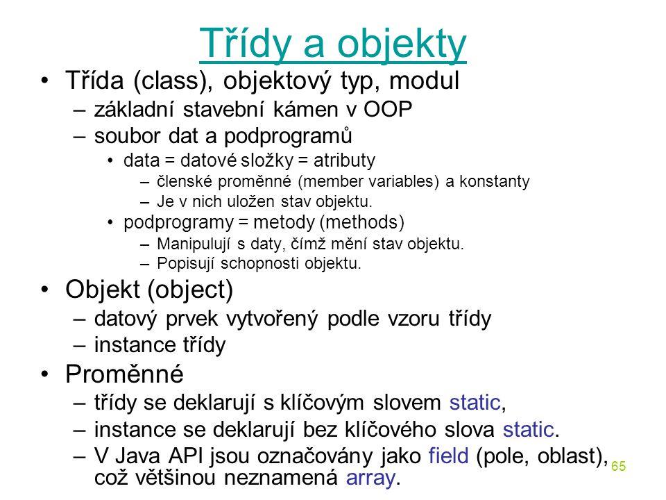 65 Třídy a objekty Třída (class), objektový typ, modul –základní stavební kámen v OOP –soubor dat a podprogramů data = datové složky = atributy –člens
