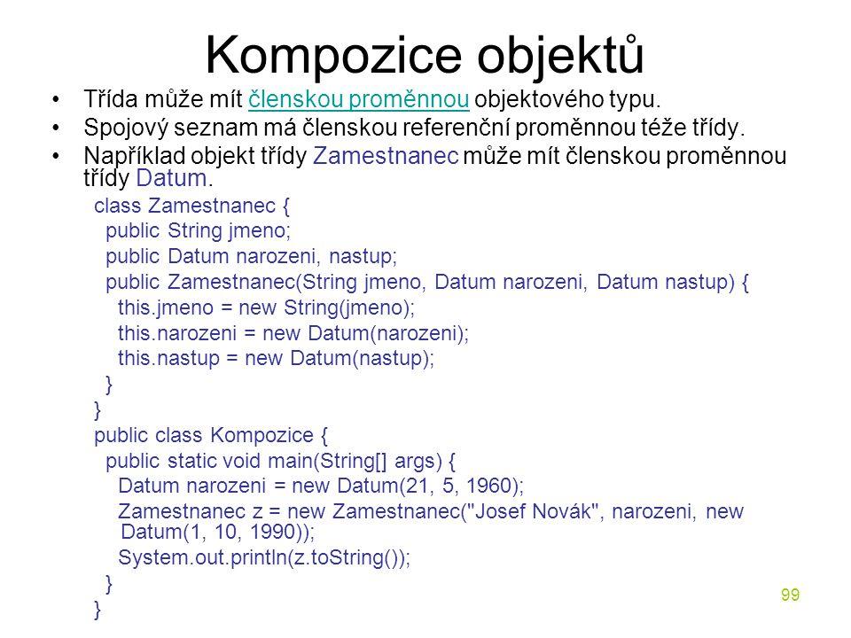 99 Kompozice objektů Třída může mít členskou proměnnou objektového typu.členskou proměnnou Spojový seznam má členskou referenční proměnnou téže třídy.