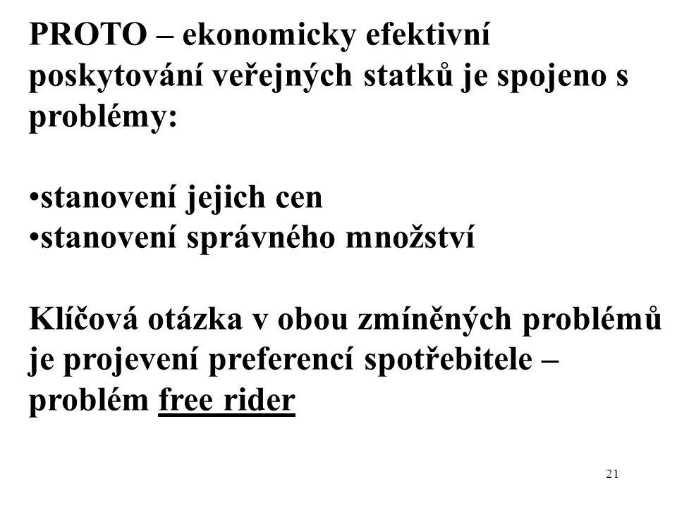 PROTO – ekonomicky efektivní poskytování veřejných statků je spojeno s problémy: stanovení jejich cen stanovení správného množství Klíčová otázka v ob