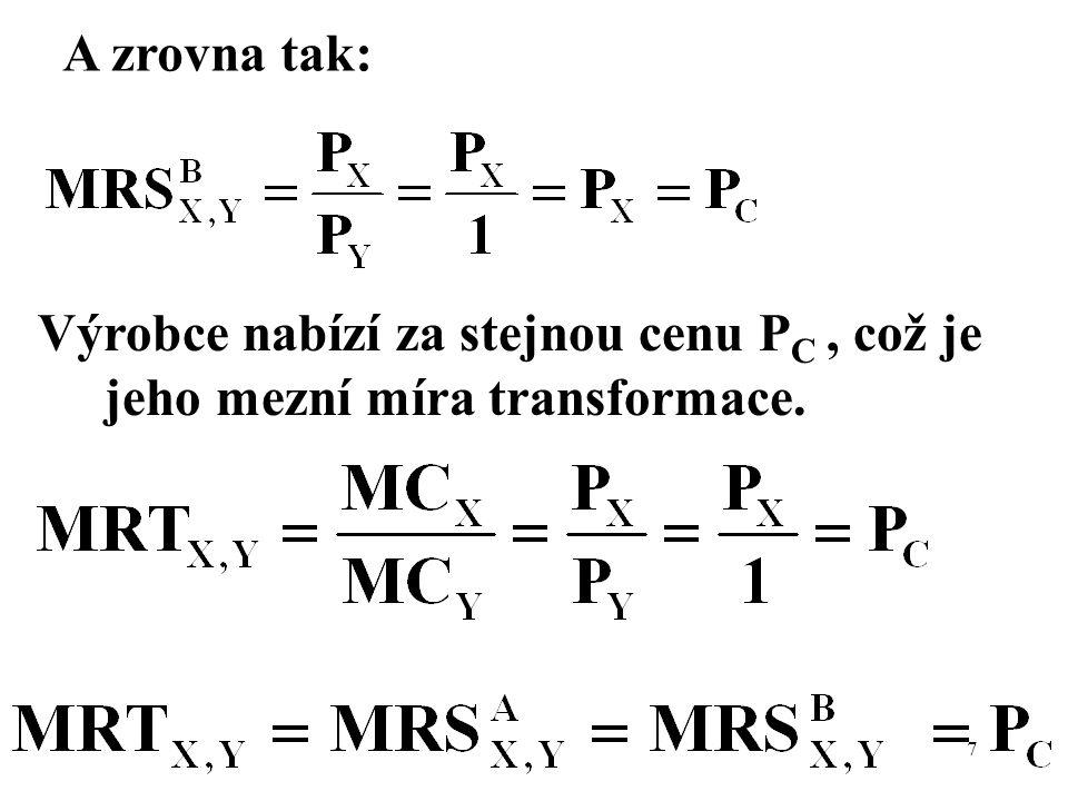 Negativní externalita (škoda = damage) 28 MB = marginal benefit to producer MPC = marginal private cost to producer MD = marginal damage to population around MSC = MPC+MD = marginal social cost
