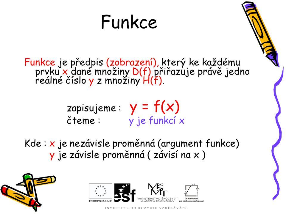 Funkce Funkce je předpis (zobrazení), který ke každému prvku x dané množiny D(f) přiřazuje právě jedno reálné číslo y z množiny H(f). zapisujeme : y =