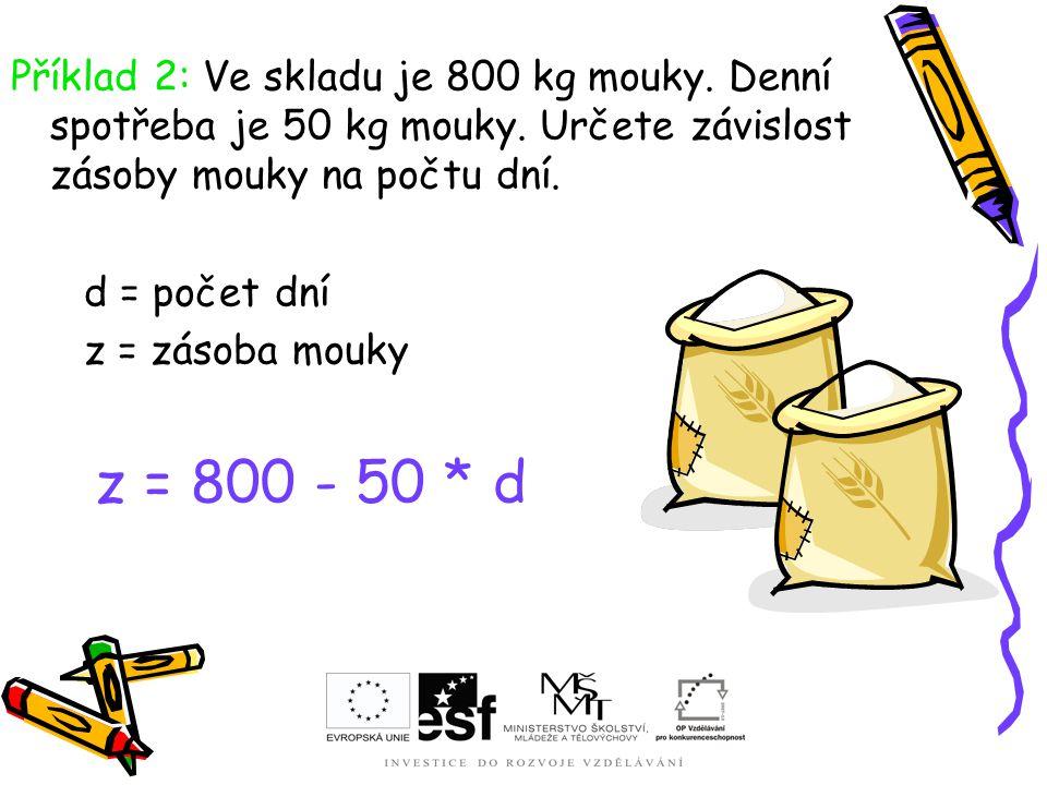 Příklad 2: Ve skladu je 800 kg mouky. Denní spotřeba je 50 kg mouky. Určete závislost zásoby mouky na počtu dní. d = počet dní z = zásoba mouky z = 80