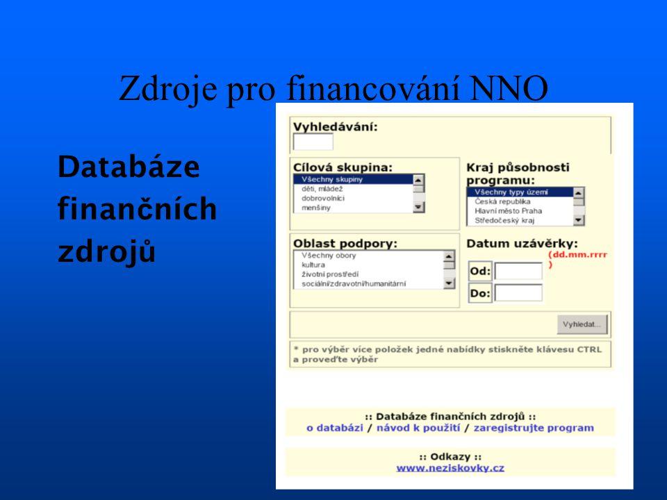 Zdroje pro financování NNO Databáze finan č ních zdroj ů
