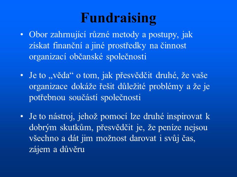 """Fundraising Obor zahrnující různé metody a postupy, jak získat finanční a jiné prostředky na činnost organizací občanské společnosti Je to """"věda"""" o to"""