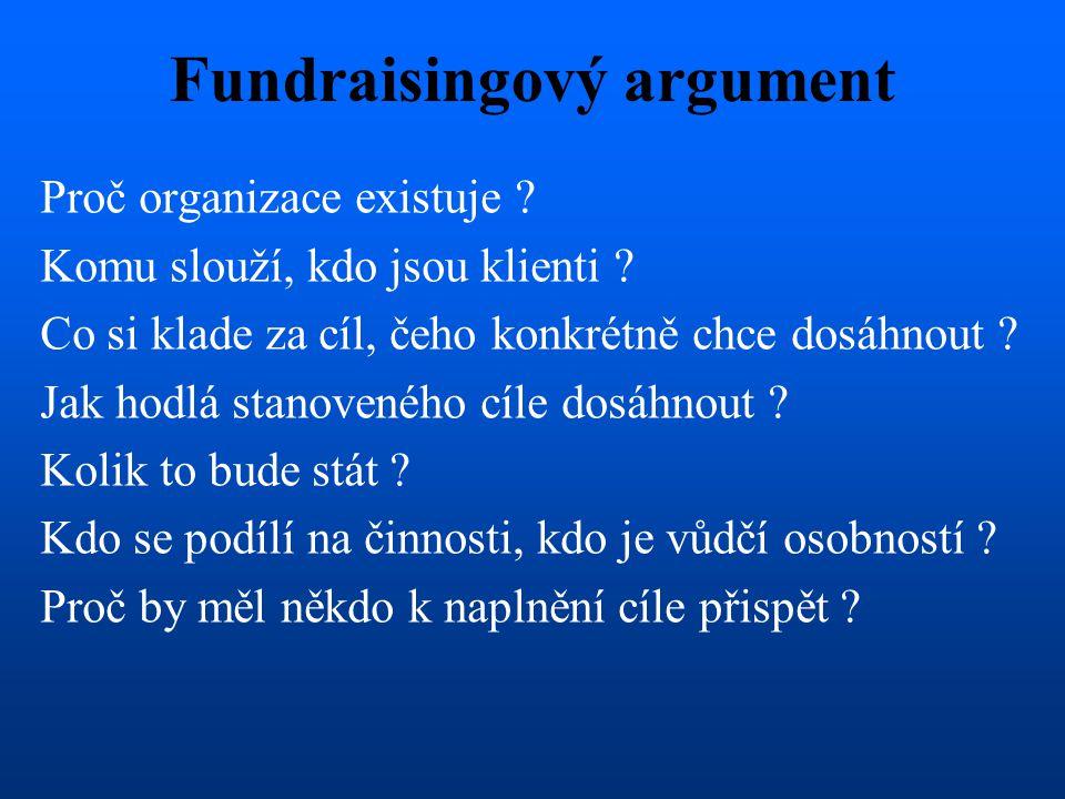 Fundraisingový argument Proč organizace existuje ? Komu slouží, kdo jsou klienti ? Co si klade za cíl, čeho konkrétně chce dosáhnout ? Jak hodlá stano